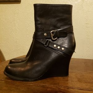 Nine West Leather Buckle Wedge Boot